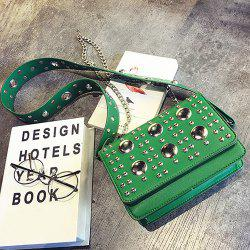 Punk Studded Wide Strap Crossbody Bag - GREEN
