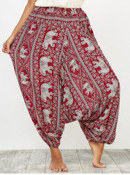 Indian Harem Pants with Elephant Printed - RED