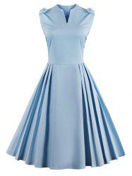 V Neck Bowknot Pin Up Fit and Flare Work Dress - WINDSOR BLUE