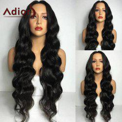 Adiors Long Middle Part Wavy Synthetic Wig - BLACK
