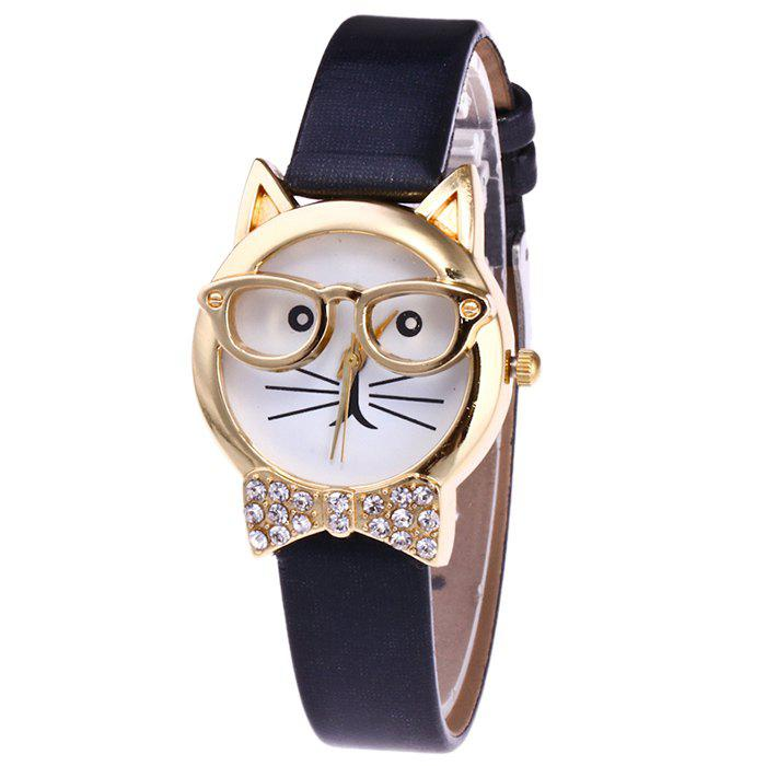 Rhinestone Cat With Glasses Analog WatchJEWELRY<br><br>Color: BLACK; Gender: For Women; Style: Fashion; Type: Quartz watch; Index Dial: Analog; Case material: Alloy; Band material: PU Leather; Movement: Quartz; Dial Shape: Round; Water-Proof: No; Case Thickness(MM): 9mm; Dial Diameter: 2.9cm; Band Length(CM): 20cm; Band Width(CM): 1.4cm; Package Contents: 1 x Watch;