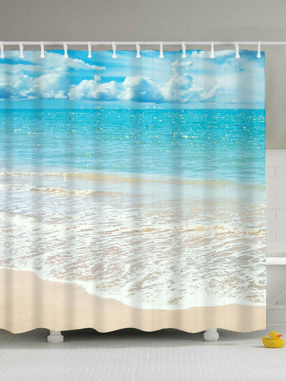 Beach Scenery Water Resistant Anti-bacteria Shower CurtainHOME<br><br>Size: 150*180CM; Color: LIGHT BLUE; Products Type: Shower Curtains; Materials: Polyester; Pattern: Scenic; Style: Beach Style; Shape: Rectangular; Weight: 0.5500kg; Package Contents: 1 x Shower Curtain 1 x Hooks?Set?;