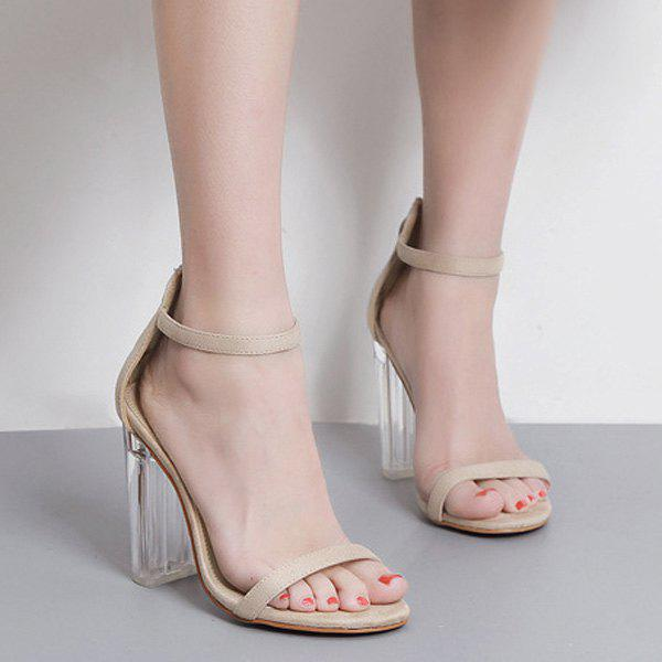 Fashion Clear Heel Ankle Strap Sandals