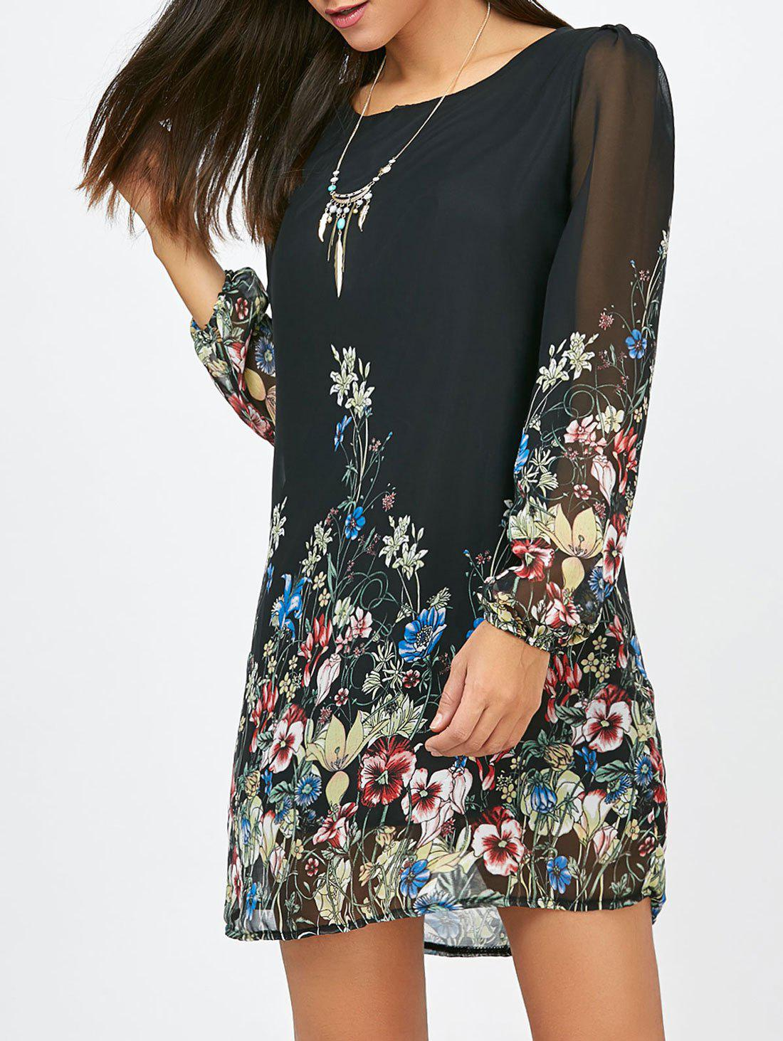 Outfit Floral Long Sleeve Chiffon Short Shift Casual Dress