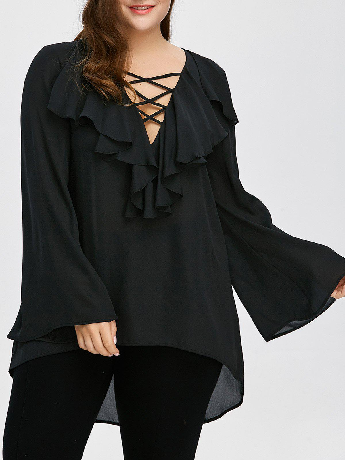 Plus Size Ruffle Front Long Flare Sleeve Lace Up BlouseWOMEN<br><br>Size: 5XL; Color: BLACK; Material: Polyester; Shirt Length: Long; Sleeve Length: Full; Collar: Plunging Neck; Style: Casual; Season: Fall,Spring,Summer; Pattern Type: Solid; Weight: 0.3400kg; Package Contents: 1 x Blouse;