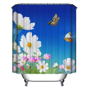 Pastoral Floral Waterproof Fabric Shower Curtain - BLUE 180*180CM