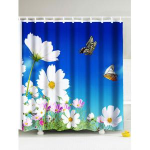 Pastoral Floral Waterproof Fabric Shower Curtain