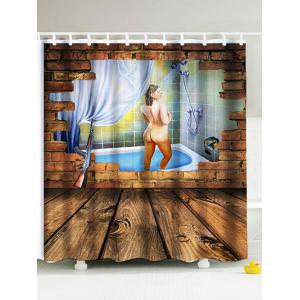 3D Shower Woman Water Repellent Fabric Shower Curtain - Brown - 180*180cm