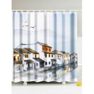 Jiangnan Water Town Polyester Fabric Shower Curtain - Grey White - 180*180cm