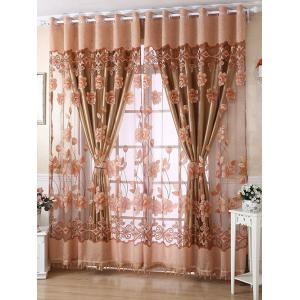 1Pcs Grommet Roller Floral Window Tulle - Light Coffee - 150*250cm