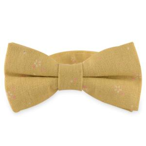 Tiny Floral Printed Cotton and Linen Bow Tie - Ginger - L