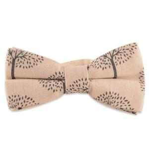 Little Tree Printed Cotton and Linen Bow Tie - Off-white - 2xl