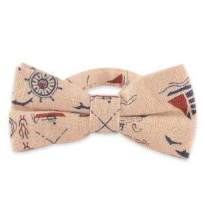 Cotton and Linen Bow Tie with Nautical Pattern - Candy Beige - 38