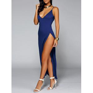 Low Cut Backless Slit Maxi Club Dress - BLUE XL