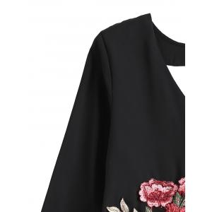 Flare Sleeve Rose Embroidered Chiffon Crop Blouse -