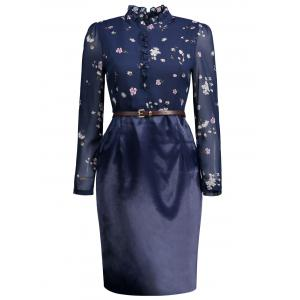 High Neck Belted Floral Sheath Dress - Purplish Blue - Xl