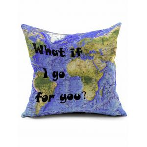 World Map Print Short Plush Square Pillow Case