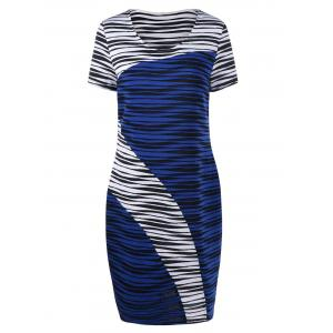Plus Size Striped Knee Length Tight Dress - Blue And White - 2xl
