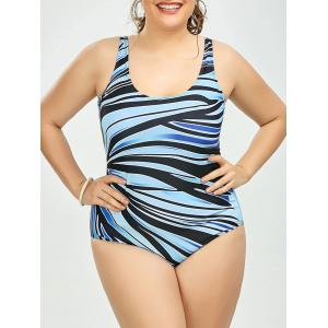 Cutout Plus Size Stripe One Piece Swimsuit