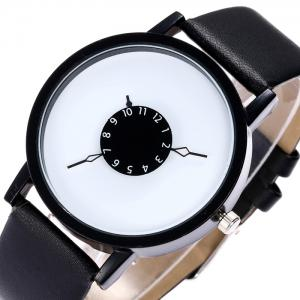 Faux Leather Strap Number Analog Watch - BLACK