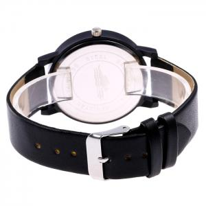 Faux Leather Strap Number Analog Watch - BLACK WHITE