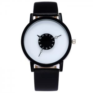 Faux Leather Strap Number Analog Watch