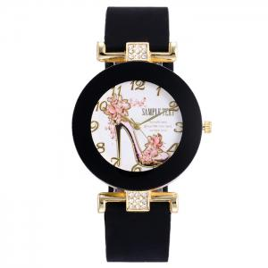 Pumps Pattern Silicone Strap Number Watch - Black - 75a