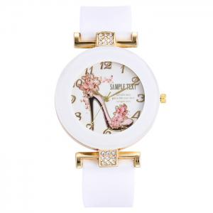 Pumps Pattern Silicone Strap Number Watch - White