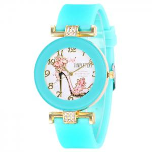 Pumps Pattern Silicone Strap Number Watch - Mint