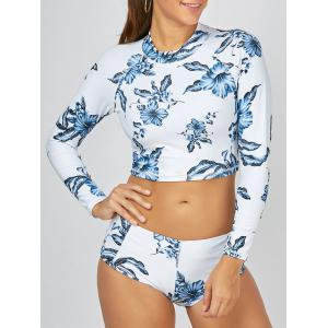 Long Sleeves Crop Print Tankini Swimsuit