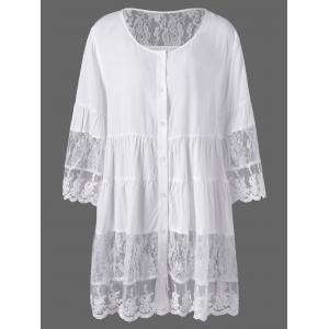 Plus Size Lace Insert Scalloped Button Up Blouse - White - 5xl