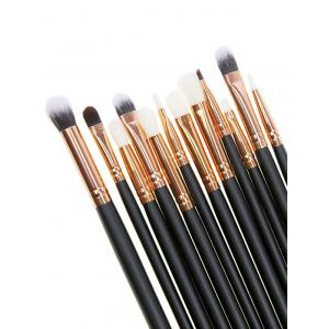 12 Pcs Fiber Eye Makeup Brushes Set - Black