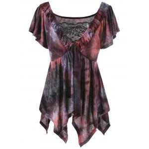 Plus Size Asymmetrical Tie Dye Top