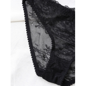 Sheer Lace Balconette Shelf Demi Bra Set - BLACK 85D