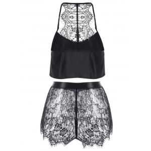 Button Up Crop Top with Lace Shorts - BLACK XL