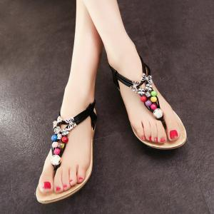 Beads Faux Leather Sandals - BLACK 39