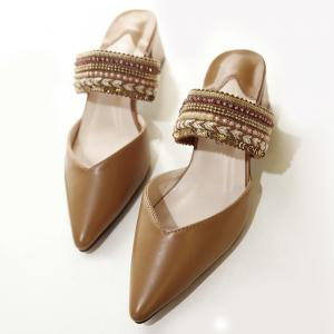 Faux Leather Beads Slippers - BROWN 39