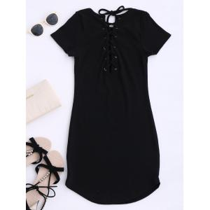 Lace Up Mini Short Sleeve Jumper Dress
