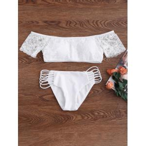 Lace Panel Off The Shoulder Bikini Bathing Suit