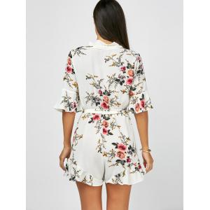 Plunging Neck Flounce Floral Bell Sleeve Romper - WHITE S