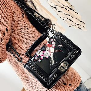 Embroidered Cross Body Chains Bag - BLACK