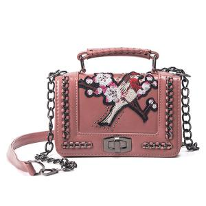 Embroidered Cross Body Chains Bag - Pink