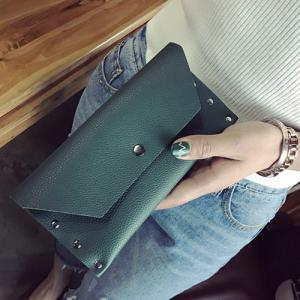 Textured Faux Leather Clutch Wallet - BLACKISH GREEN