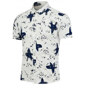 Splashed Ink Pattern Short Sleeves Shirt