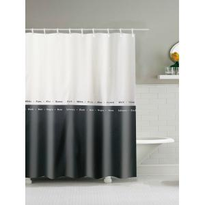 Two Tone Waterproof Polyester Shower Curtain - White And Black - 180*200cm