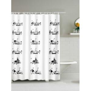 Father and Son Print Waterproof Polyester Shower Curtain - White - 180*180cm