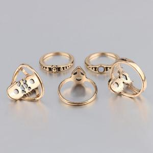 Artificial Gem Circle Ring Set - GOLDEN ONE-SIZE