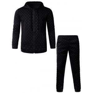 3D Geometric Emboss Zip Up Hoodie and Pants Twinset - Black - M