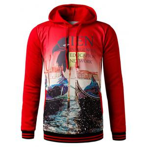 3D Eagle Graphic Print Hooded Fleece Hoodie