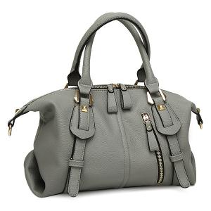 Straps Detail Textured Faux Leather Tote Bag - Gray